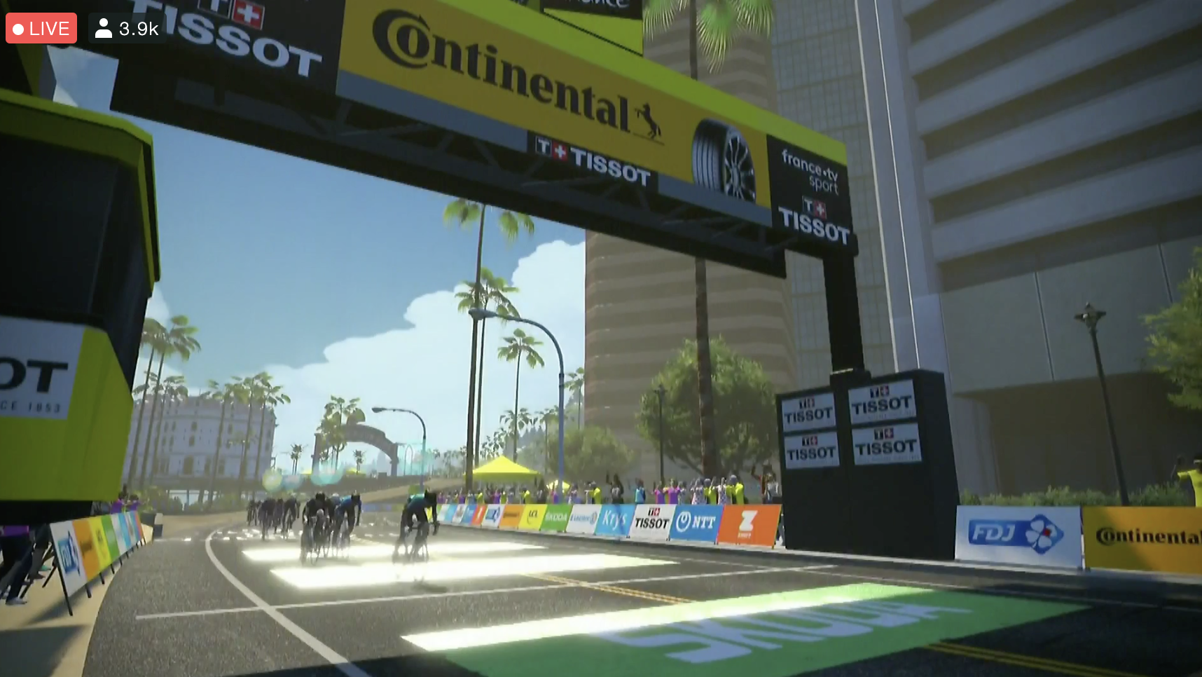 The finish of the stage 1 virtual Tour de France women