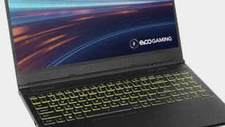 Evoo gaming laptop angled on a gray brackground.