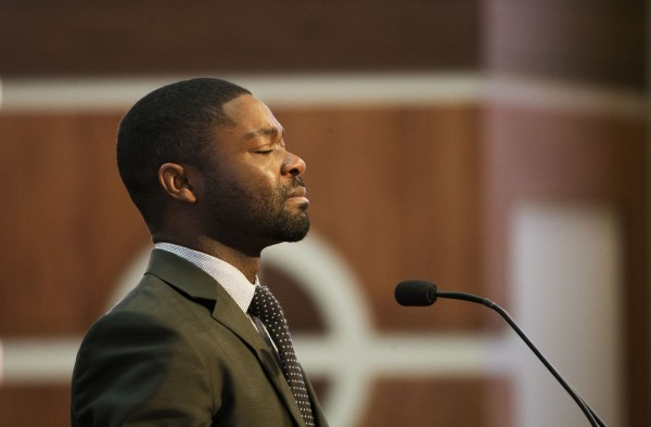 David Oyelowo speaks at the Martin Luther King holiday commemorative service