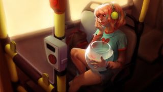 Girl with pink hair holding fishbowl on bus