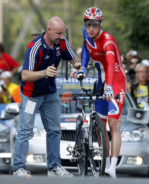 Bradley Wiggins bike trouble, World Champs 2009 time trial