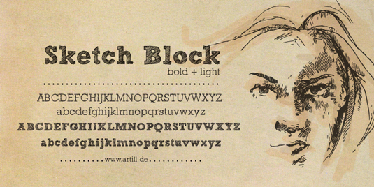 Free handwriting fonts: Sketch Block
