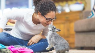 A woman kissing a house rabbit