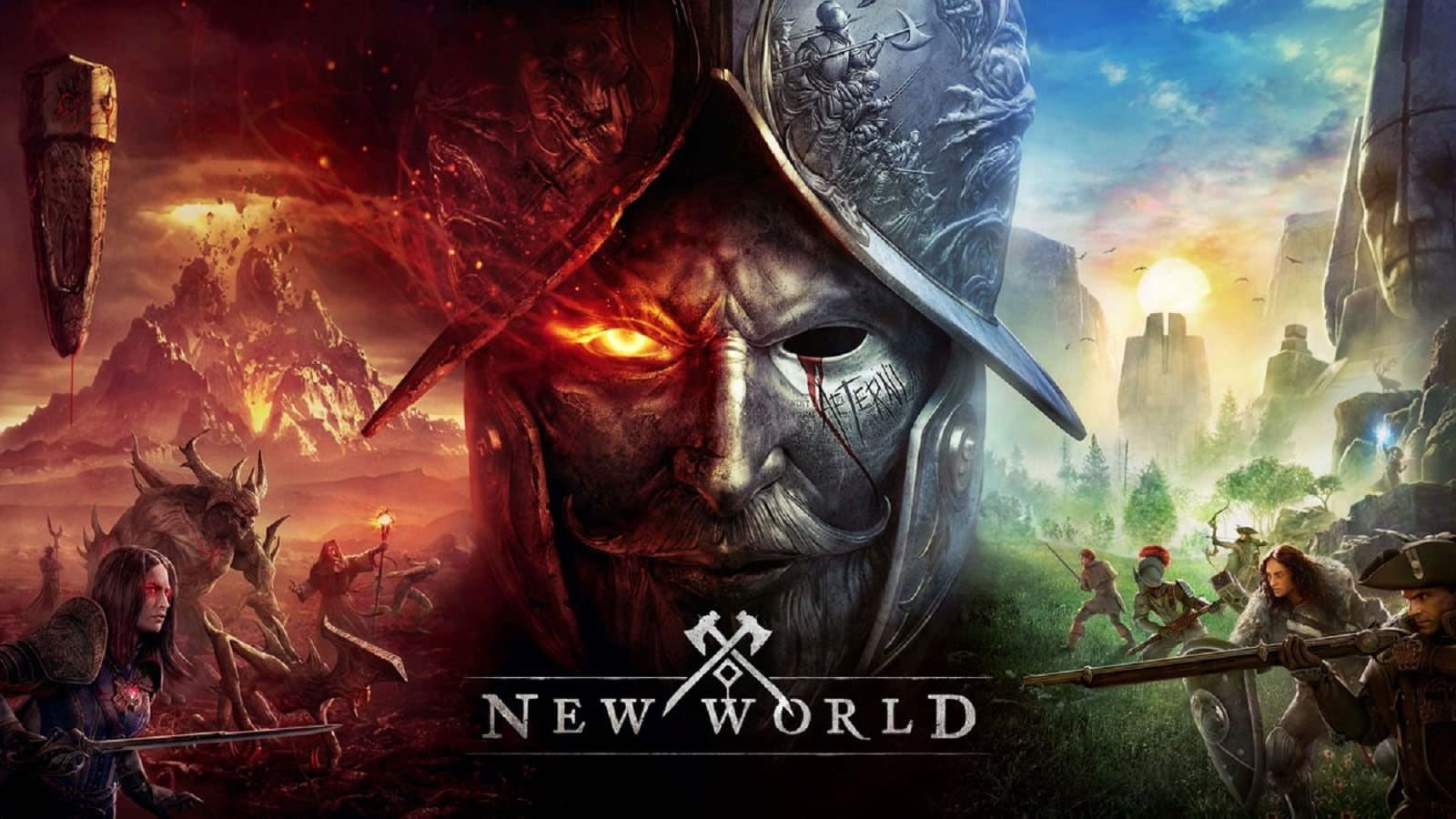 New World promotional image showing a battlefield