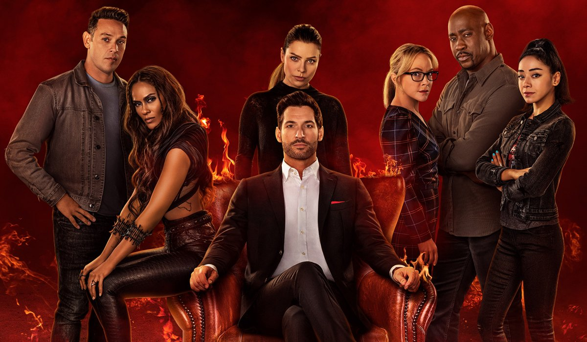 The cast lined up behind Tom Ellis in Hell in Lucifer.