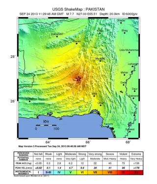 Shaking intensity map for Pakistan earthquake