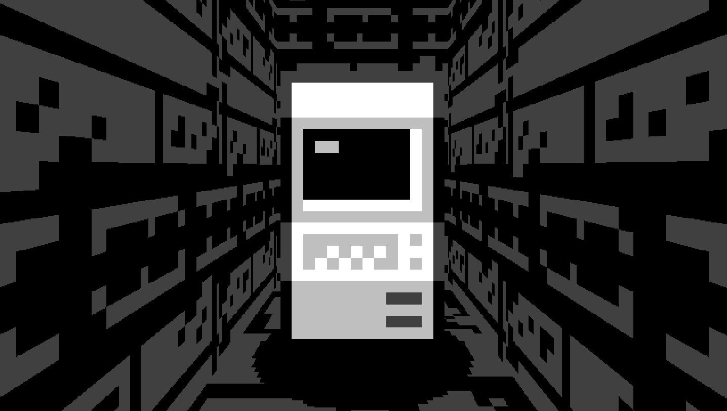A computer incongruously placed in a dungeon corridor
