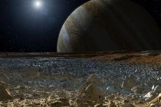 Artist's concept of surface of Jupiter moon Europa.