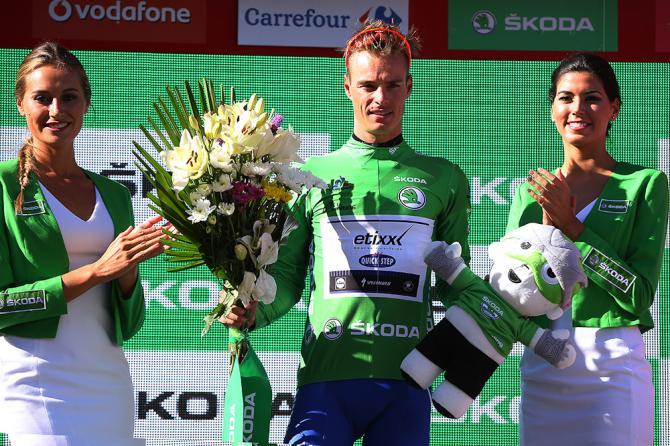 Gianni Meersman on the Vuelta's stage 2 podium