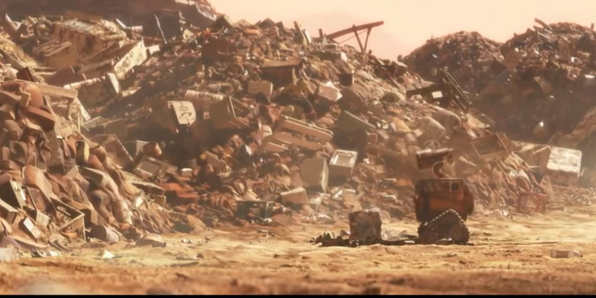 Wall-E exploring the wasteland in Wall-E