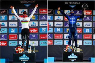 Anna van der Breggen and Davide Ballerini on the podiums of Omloop Het Nieuwsblad women's and men's races in 2021
