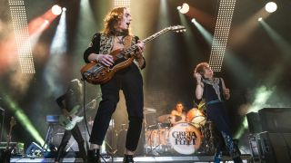 Sam Kiszka, Jake Kiszka, Danny Wagner and Josh Kiszka of Greta Van Fleet perform at UNO Lakefront Arena on December 20, 2019 in New Orleans, Louisiana.