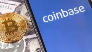 Coinbase logo on the screen.