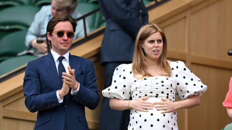 Edo Mapelli Mozzi and Princess Beatrice, Mrs Edoardo Mapelli Mozzi attend day 10 of the Wimbledon Tennis Championships at the All England Lawn Tennis and Croquet Club on July 08, 2021.