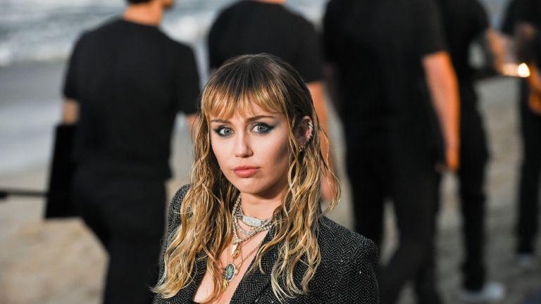 Miley Cyrus at Saint Laurent mens spring summer 20 show on June 06, 2019 in Malibu, California.