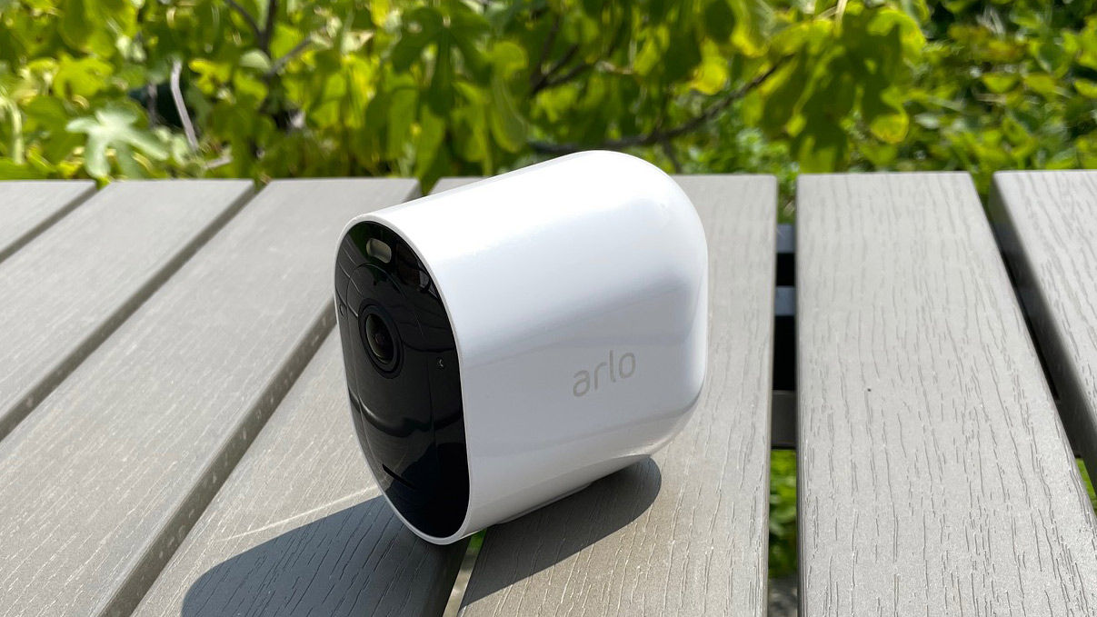 Arlo Pro 4 on a table in the garden