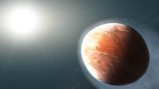 An artist's depiction of a distorted exoplanet.