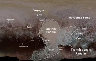 Map of Official Pluto Feature Names