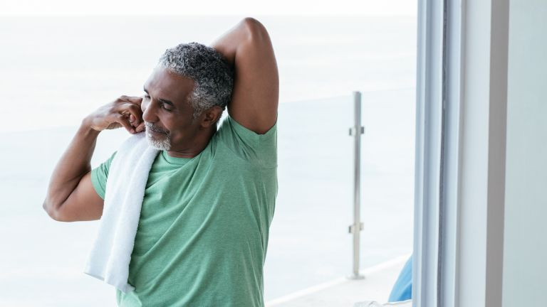 Older man exercising to relieve stress