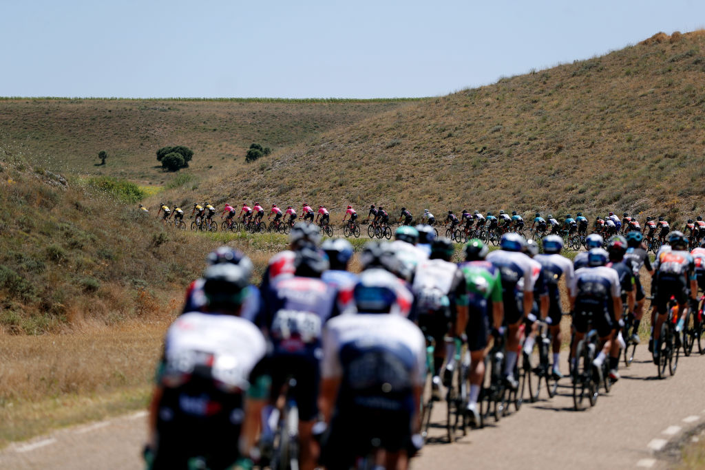 MOLINA DE ARAGON SPAIN AUGUST 17 The peloton passing through a landscape during the 76th Tour of Spain 2021 Stage 4 a 1639km stage from El Burgo de Osma to Molina de Aragn 1134m lavuelta LaVuelta21 on August 17 2021 in Molina de Aragn Spain Photo by Gonzalo Arroyo MorenoGetty Images
