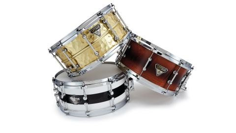 The Equator range snare (pictured left) gets its name from the thin black band that wraps around the shell