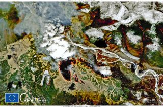 Fires raging in Siberia are visible from space.