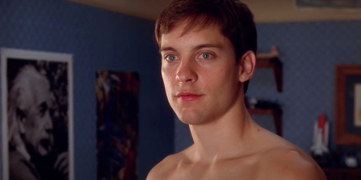 Shirtless Tobey Maguire in Spider-Man