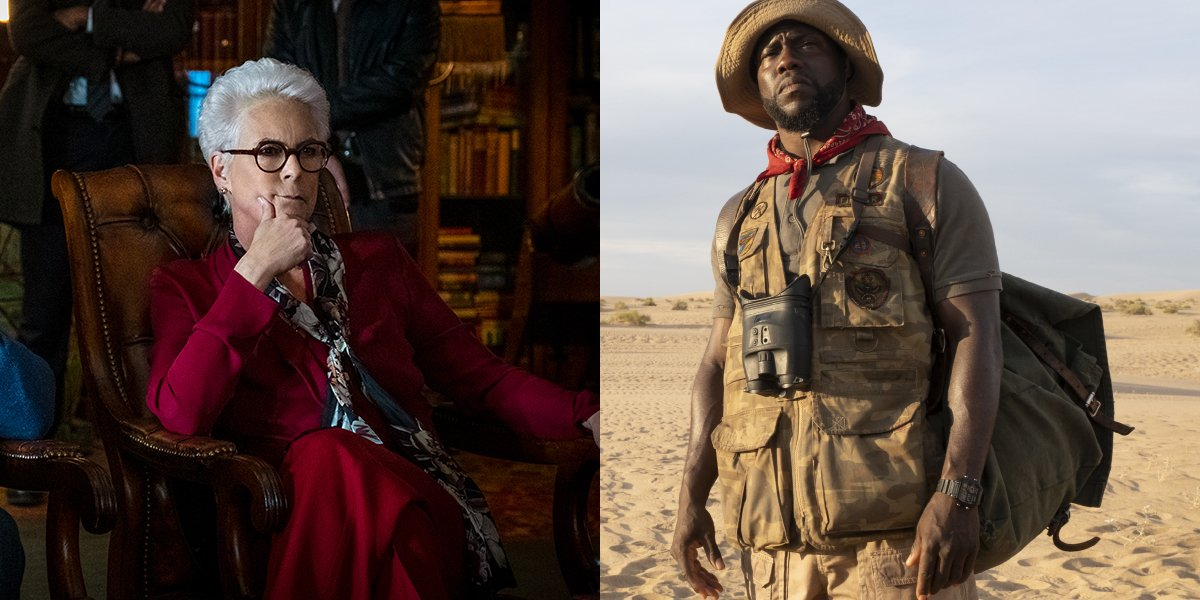 Jamie Lee Curtis in Knives Out and Kevin Hart in Jumanji: The Next Level, pictured side by side