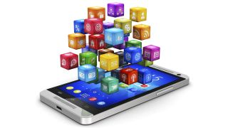 Colorful app icons rise above a smartphone screen