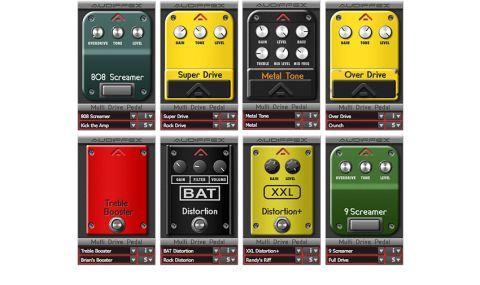 Emulations include a RAT, TS808 and TS9 Tube Screamers, MXR Distortion+, Boss OD-1 and SD-1 overdrives, Boss MT-2 Metal Zone and a treble booster