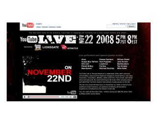 YouTube Live: happening 22 November