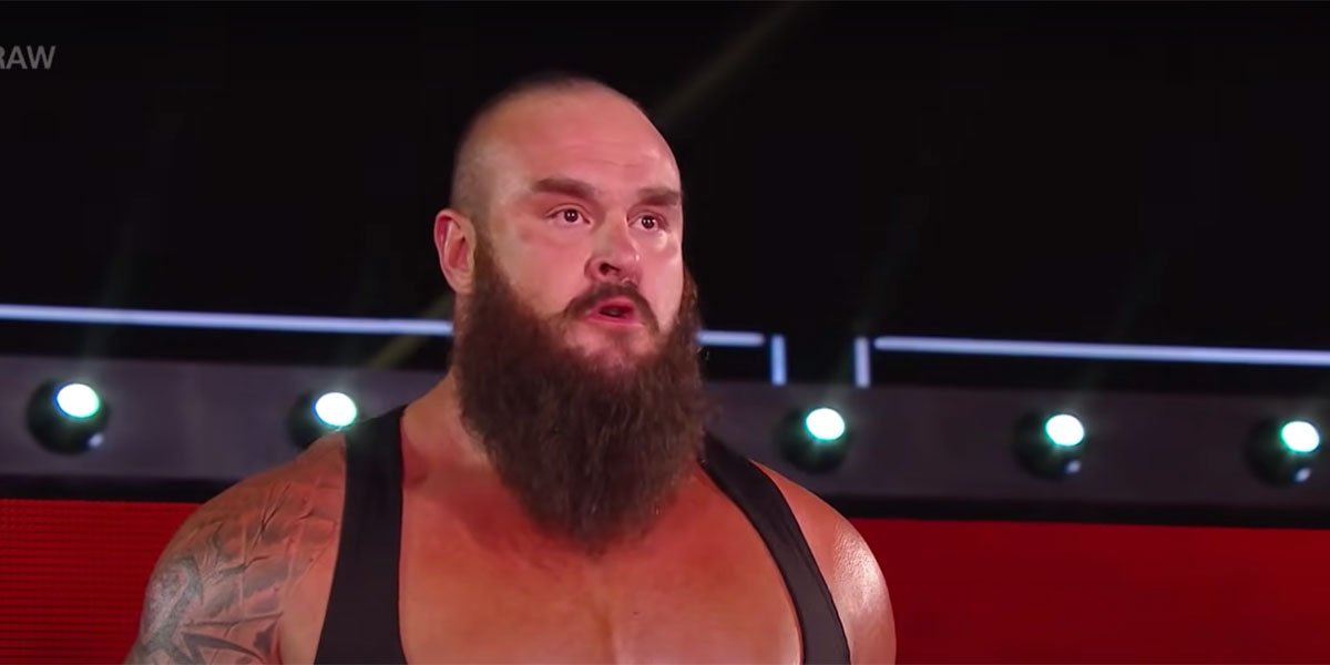 Braun Strowman walking to the ring to confront Paul Heyman.