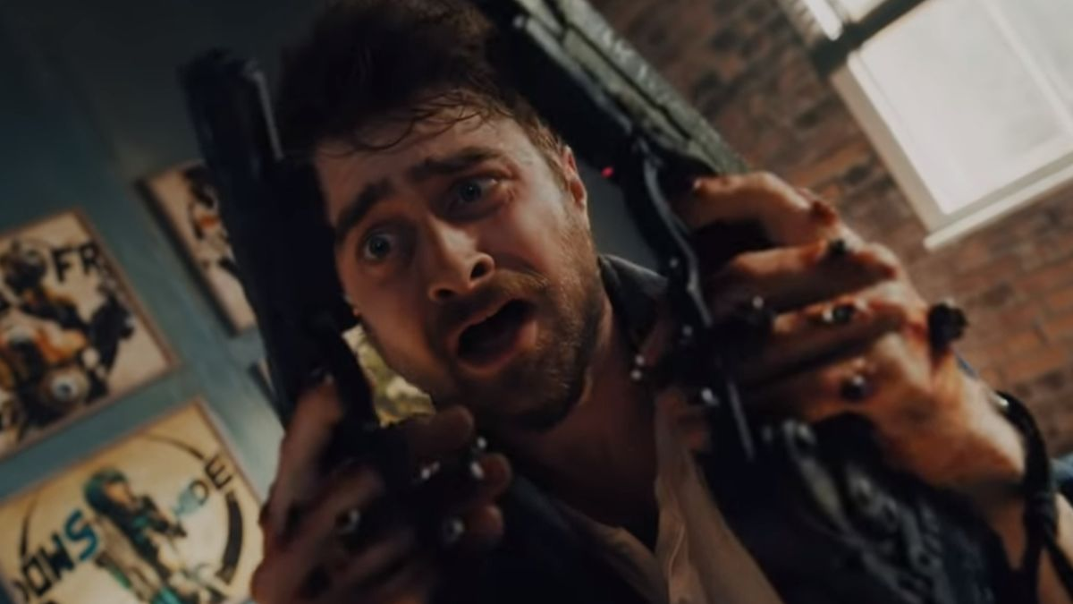Guns Akimbo's wild first trailer shows Daniel Radcliffe with guns bolted to his hands