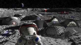 "A project led by the European Space Agency imagines a future lunar base that could be produced and maintained using 3D printing. In an artist's concept released in 2018, habitat modules are seen beside ""garages"" for rovers, with an adjacent launch site."