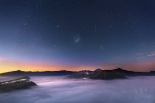 Galaxies at Sunrise Over Mount Bromo by Justin Ng