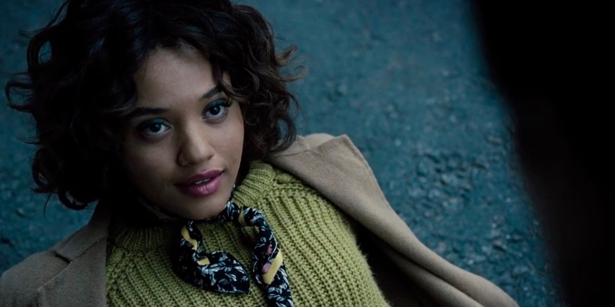 Kiersey Clemons as Iris West being saved by Ezra Miller's Barry Allen in Zack Snyder's Justice League