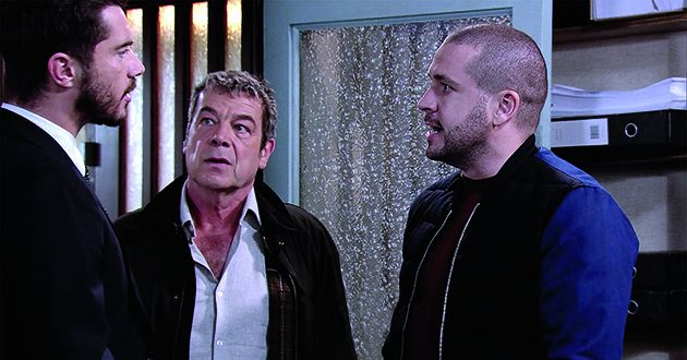 Johnny Connor and Aidan Connor burst into Adam Barlows' office and accuse him of stealing the factory's machi