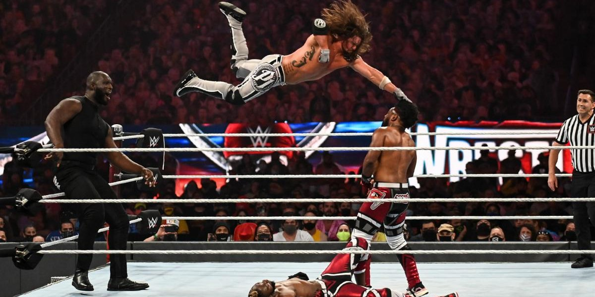 AJ Styles pulling off a Phenomenal Forearm on Xaiver Woods at WrestleMania 37