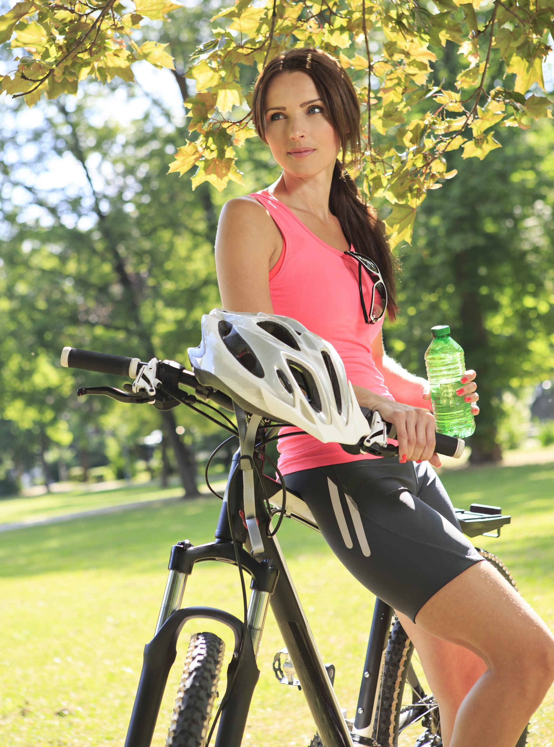 Fit young woman on bike