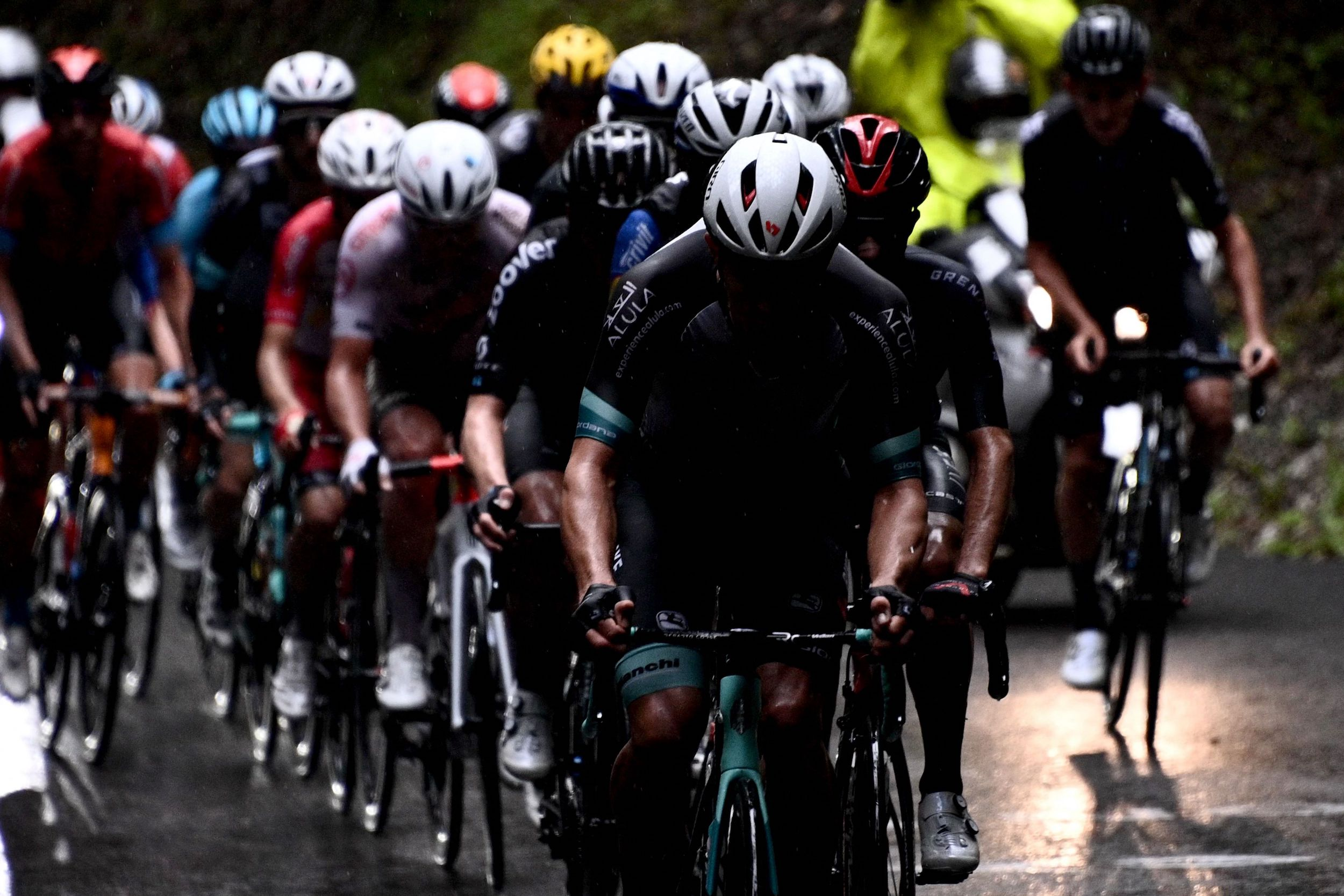 Moody pictures in the rain on stage eight of the Tour de France 2021