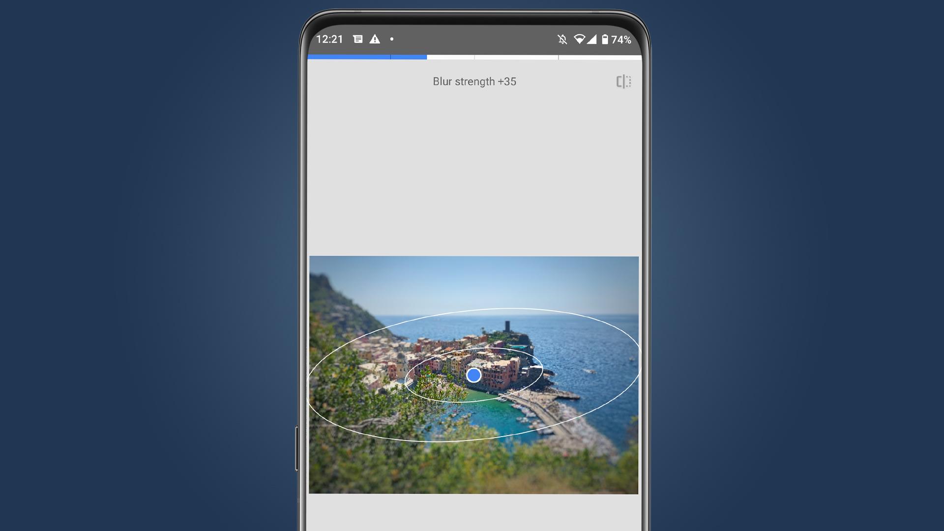 The tilt shift effect shown in the Snapseed app