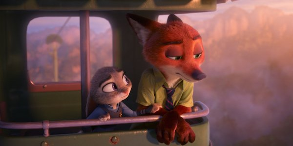 Nick and Judy in Zootopia looking forlorn