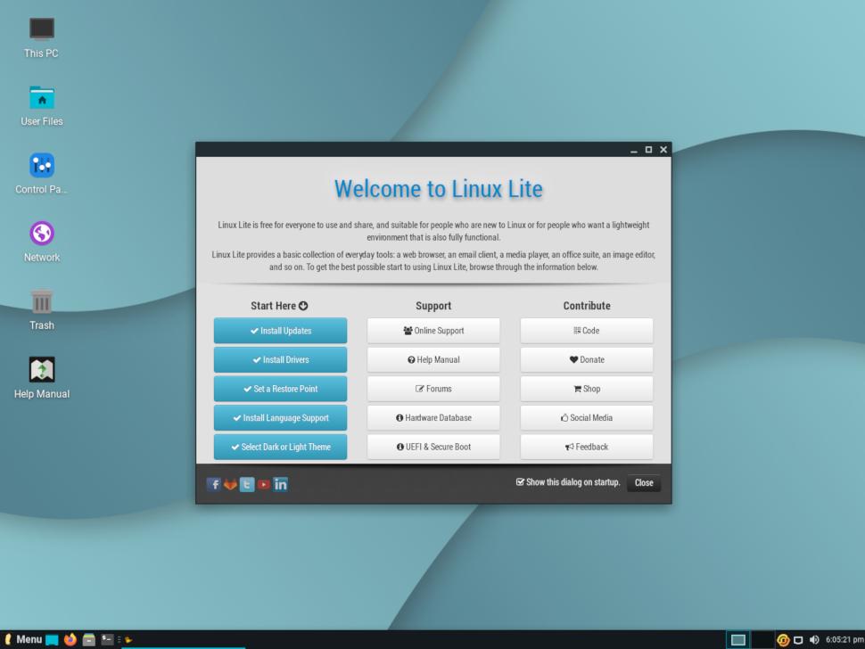 screenshot of LinuxLite's desktop
