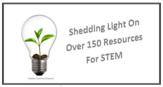 "Light bulb with plant growing inside ""Shedding Light on Over 150 Resources For STEM"""
