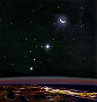 An artist's depiction of the night sky on Oct. 7, 2015, inspired by a photograph taken by NASA astronaut Scott Kelly aboard the International Space Station. On this night, Jupiter, Mars and Venus lined up in the night sky with the crescent moon.