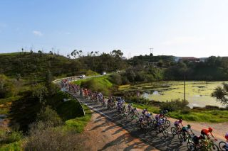 LAGOS PORTUGAL FEBRUARY 19 Peloton Landscape during the 46th Volta ao Algarve 2020 Stage 1 a 1956km stage from Portimo to Lagos VAlgarve2020 on February 19 2020 in Lagos Portugal Photo by Tim de WaeleGetty Images