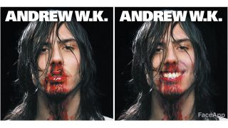Augmented image of Andrew WK's cover art with him smiling