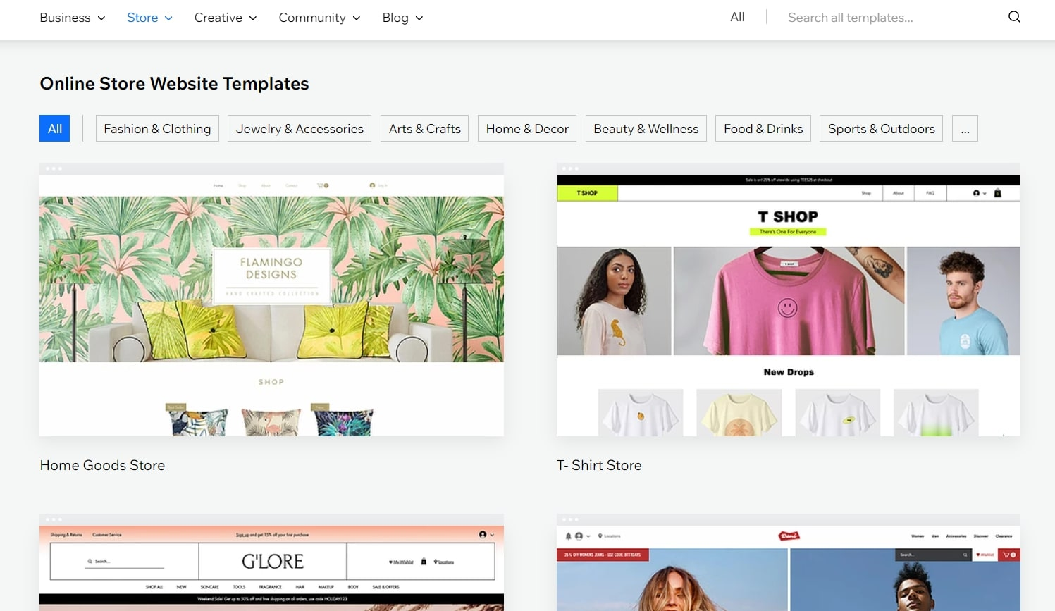 Wix's online store templates library