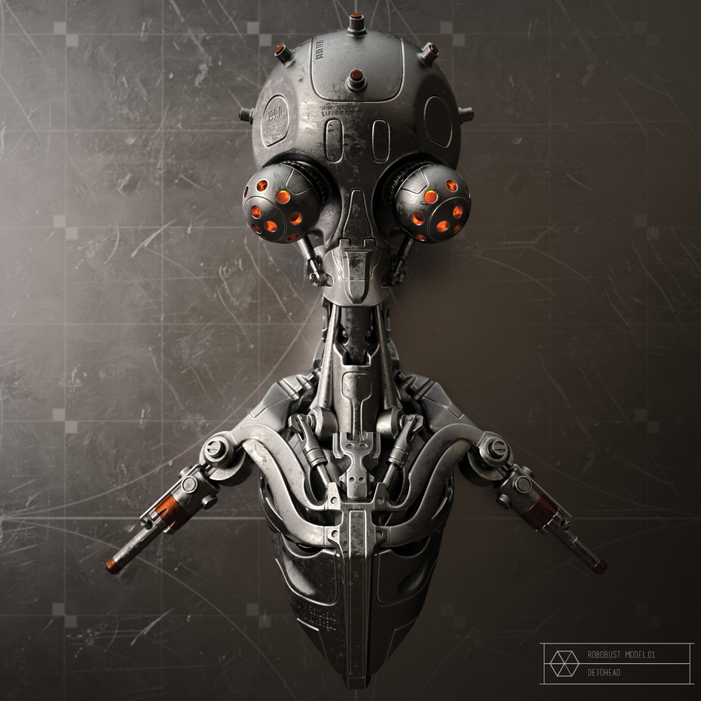 Rendered 3D robot head