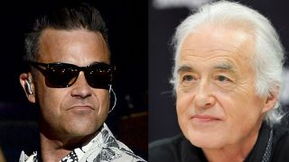 A picture of Robbie Williams and Jimmy Page
